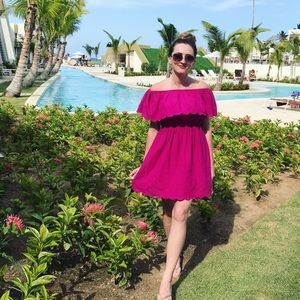 {Buffalo David Bitton} Fuschia Off Shoulder Dress